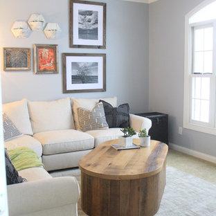 Immagine di un soggiorno stile marinaro chiuso con pareti viola, moquette, TV a parete e nessun camino