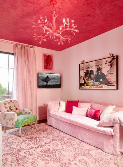 Eclectic Family Room by Heidi Holzer Design & Decorative Work