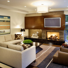 contemporary family room by b+g design inc.