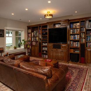 Immagine di un ampio soggiorno classico aperto con sala giochi, pareti grigie, pavimento in gres porcellanato, parete attrezzata e pavimento rosso