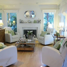 Contemporary Family Room White elegance. A Cape Cod style country house in the West