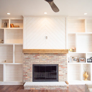 White Washed Fireplace and Shelving
