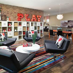 Transitional loft-style dark wood floor family room photo in Phoenix with beige walls