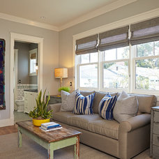 Transitional Family Room by Brooke Wagner Design