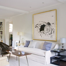 Transitional Family Room by Studio William Hefner