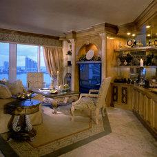 Transitional Family Room by Perla Lichi Design