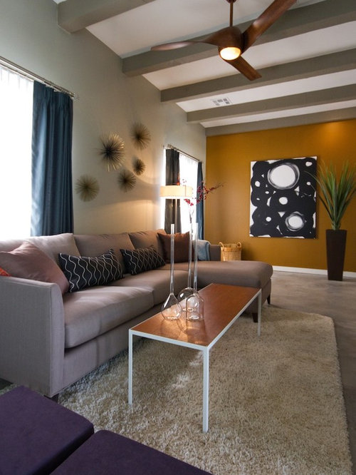 Mustard wall houzz Mustard living room ideas