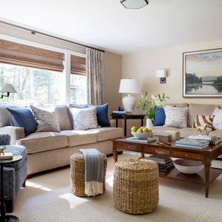 Example of a transitional carpeted and beige floor family room design in Boston with beige walls, no fireplace and no tv