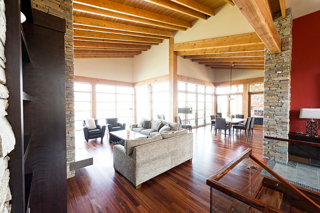 Rustic Family Room by site lines architecture inc.