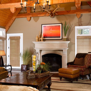 Wood-Beamed Family Room with White Fireplace
