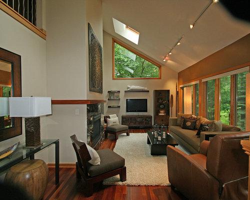 asiatische wohnzimmer mit gefliestem kaminsims ideen. Black Bedroom Furniture Sets. Home Design Ideas