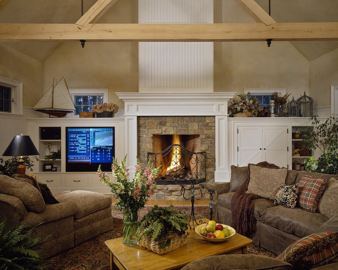 Rustic Family Room by Witt Construction