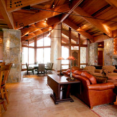 Rustic Family Room by KGA Studio Architects