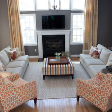 Transitional Family Room by Kim Macumber Interiors