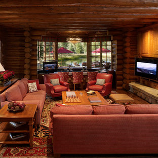Inspiration for a rustic family room remodel in Cincinnati
