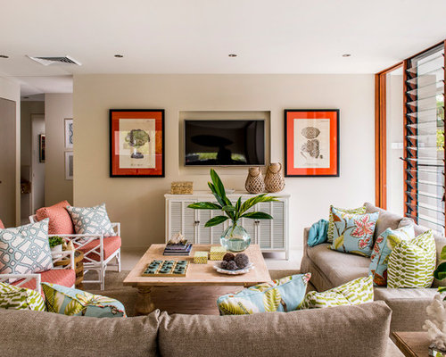 Inspiration For A Beach Style Family Room Remodel In Brisbane With Beige Walls And Wall