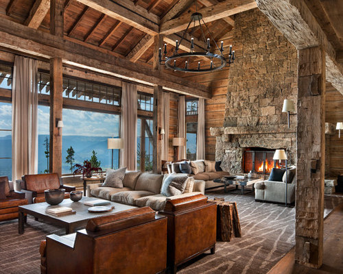 Merveilleux Inspiration For A Huge Rustic Open Concept Medium Tone Wood Floor And Brown  Floor Family Room