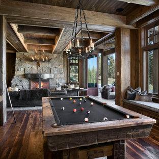 Idee per un soggiorno rustico con sala giochi