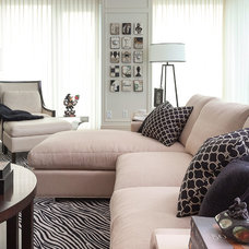 Transitional Family Room by PRINCIPLES DESIGN STUDIO INC