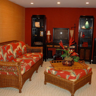 This is an example of a tropical family room in New York.
