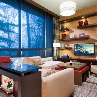 Diseño de sala de juegos en casa cerrada, actual, pequeña, sin chimenea, con televisor colgado en la pared, paredes blancas, suelo de cemento y suelo gris