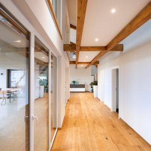 Свежая идея для дизайна: большой коридор в стиле кантри с белыми стенами, паркетным полом среднего тона и коричневым полом - отличное фото интерьера
