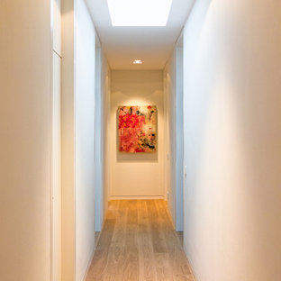 Inspiration for a huge contemporary light wood floor hallway remodel in Frankfurt with white walls