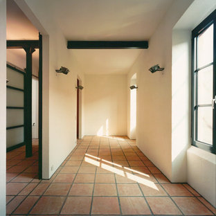 Example of a trendy terra-cotta floor hallway design in Frankfurt with white walls