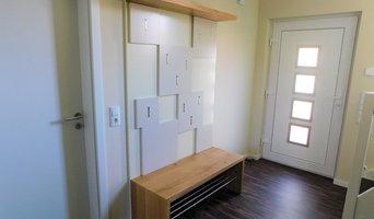 Garderobe mit Klapphaken, Hutablage und Sitzbank aus Eiche