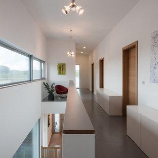 Idee per un grande ingresso o corridoio design con pareti bianche e pavimento in linoleum