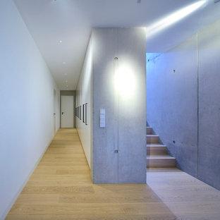 Esempio di un grande ingresso o corridoio minimalista con pareti grigie e parquet chiaro
