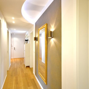 Photo of a mid-sized contemporary hallway in Bremen with medium hardwood floors and white walls.