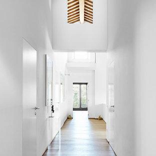 Foto di un grande ingresso o corridoio mediterraneo con pareti bianche e parquet scuro