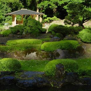 Foto på en mycket stor orientalisk trädgård i skuggan längs med huset på sommaren