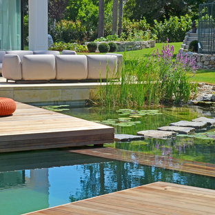 This is an example of a huge contemporary pond in Other with decking.