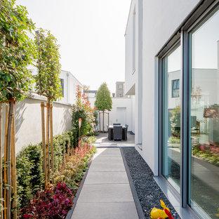 デュッセルドルフの大きい、夏のコンテンポラリースタイルのおしゃれな庭 (半日向、コンクリート敷き) の写真