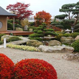 Immagine di un ampio giardino formale etnico esposto in pieno sole dietro casa in autunno con un ingresso o sentiero e ghiaia