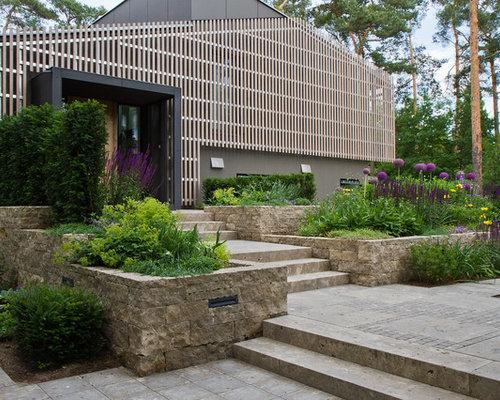 moderne outdoor-gestaltung mit gartenmauer: ideen, bilder & design, Gartenarbeit ideen