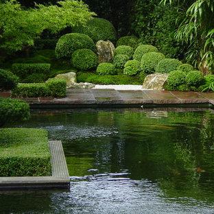 Immagine di un laghetto da giardino etnico esposto a mezz'ombra di medie dimensioni e nel cortile laterale in estate con pavimentazioni in pietra naturale