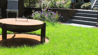 Privatgarten mit Corten Stahlelementen