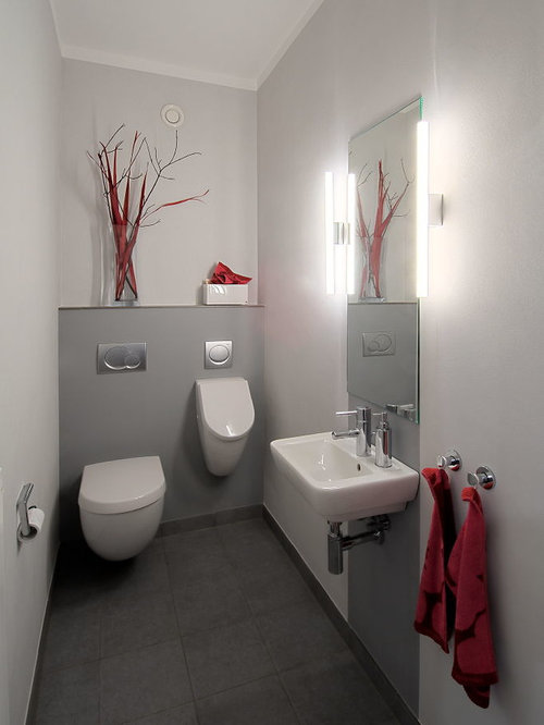 g stetoilette g ste wc mit grauen fliesen ideen f r g stebad und g ste wc design houzz. Black Bedroom Furniture Sets. Home Design Ideas