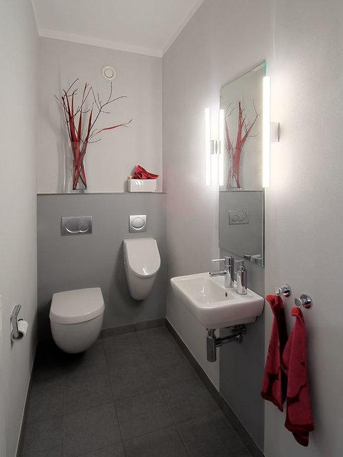 Kleine Gästetoilette GästeWC Mit Urinal Ideen Für Gästebad Und - Kleine toilette fliesen
