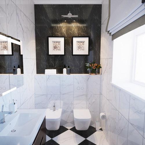 Kleine Klassische Gästetoilette Mit Dunklen Holzschränken, Schwarz Weißen  Fliesen, Marmorboden, Steinfliesen,