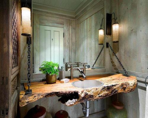 gaste wc gestaltung beispiele rustikale gastetoilette mit einbauwaschbecken waschtisch aus holz und grauer wandfarbe in da 1 4 sseldorf