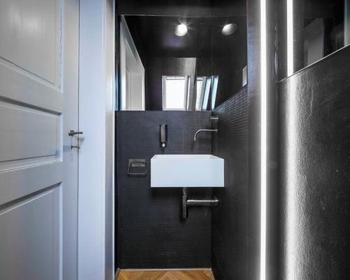 Gäste Wc Fliesen Ideen gästetoilette gäste wc mit schwarzen fliesen ideen für gästebad