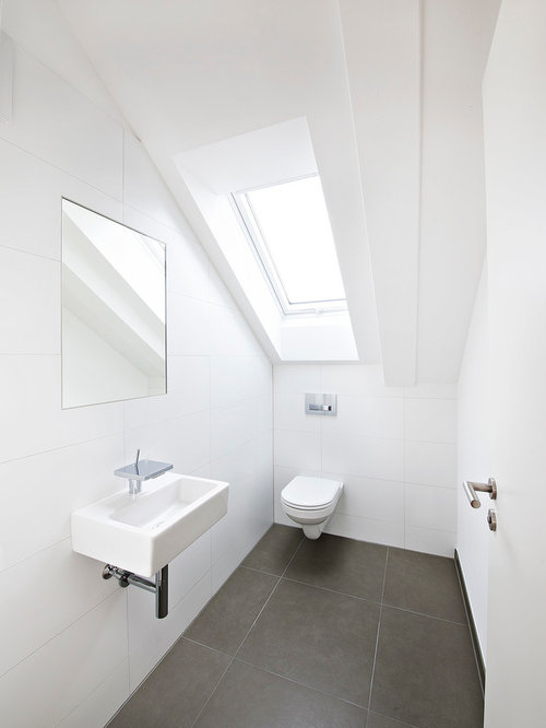 Powder Room Design Ideas, Remodels & Photos with Black and White Tile