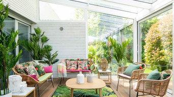 Diseño de terraza con cerramiento de cristal