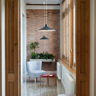 Inspiration for a small mediterranean conservatory in Barcelona with ceramic flooring, no fireplace and a standard ceiling.