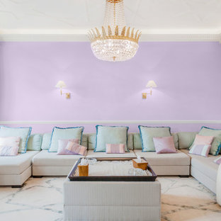 Elegant carpeted family room photo in Paris with purple walls