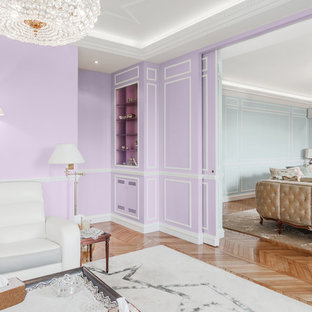 Family room - large traditional open concept light wood floor family room idea in Paris with purple walls